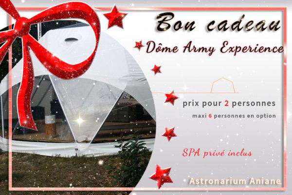 Bon cadeau nuit insolite Dome Army Experience